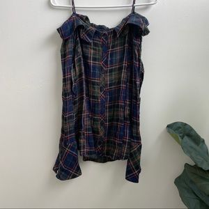 Off the shoulder flannel shirt. Small
